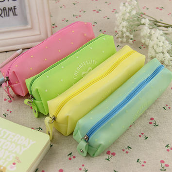 1pcs Bow Silicone Waterproof Pencil Case School Kids Stationery School Supplies 4 Color Available