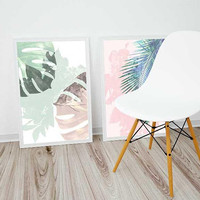 Set of 2, printable, exotic plants, pastel colors, home decor, Monstera leaf, art poster, Palm leaf, art prints, pink and blue, gifts