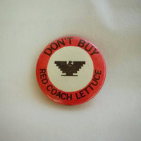 Vintage, United Farm Workers, Protest, Don't Buy Red Coach Lettuce, pinback button, Cesar Chavez, UFW, 1970s