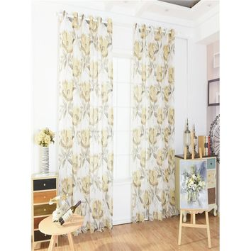 Flower Print Eyelet Curtain 1pc