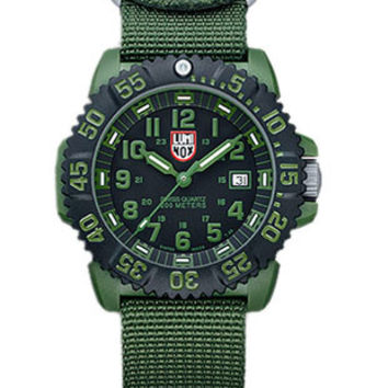 Luminox Mens Olive Drab Military Series Watch - Set of Two NATO Straps - 200M WR
