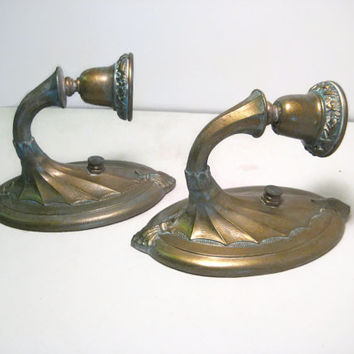 Antique Candle Wall Sconce Cast Metal Brass Overcoat Art Kast No 503 Patent Applied For