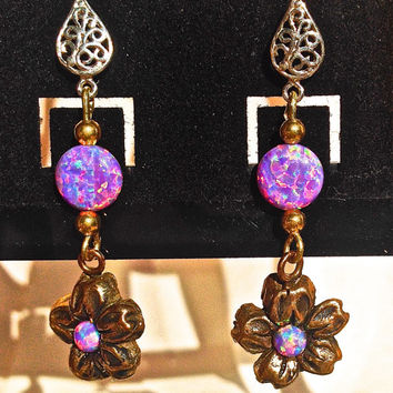 Opal earrings.  Pink/lavender Cultured Opal.  8mm & 4mm Opals. Bronze Flower Dangle. Handmade from Metal Clay.