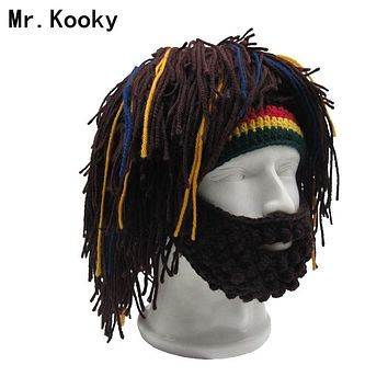 Mr.Kooky Wig Beard Hat Rasta Beanie Caveman Bandana Handmade Crocheted Gorro Winter Men's Halloween Costume Funny Birthday Gifts