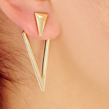 New Gold Color Double Triangle Ear Jacket Cuff for Women Maxi Shape Geometric Statement Stud Earring Gothic Jewelry