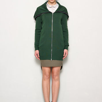 Green Sweater Jacket - Two Side Zip -Wool Jacket - Green Jacket - Zip Jacket - Long Jacket - Winter Jacket - Sweater Jacket