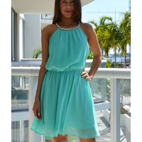 Luana Mint Jeweled Neckline Dress