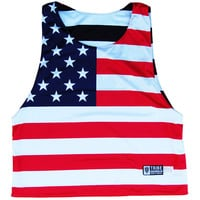 American Flag Black Out and Red White & Blue Reversible Pinnie