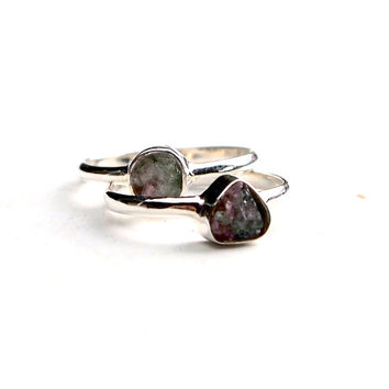 Rough watermelon tourmaline ring in sterling silver - green and pink rough gemstone - solitaire ring