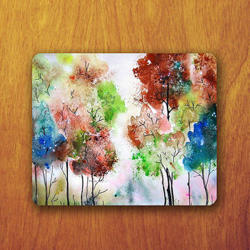 Tree Painting Mouse Pad Beautiful Colorful Watercolor  Wallpaper MousePad Office Pad Work Accessory Personalized Custom Gift