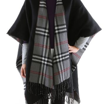 Black Checkered Fringe Ruana Poncho