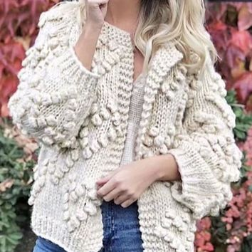 New White Love Round Neck Long Sleeve Going out Cardigan Sweater