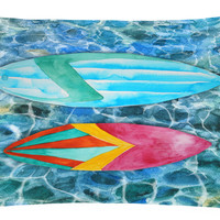 Surf Boards on the Water Canvas Fabric Decorative Pillow BB5366PW1216