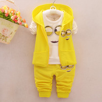 Hot Style 2016 Spring Baby Girls Boys Minion Suits Infant/Newborn Clothes Sets Kids Vest+T Shirt+Pants 3 Pcs Sets Children Suits
