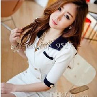 Fashion women's Sexy Dress shirts Dresses women Clothes coat Uniform double-breasted slim dress