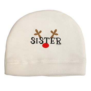 Matching Family Christmas Design - Reindeer - Sister Adult Fleece Beanie Cap Hat by TooLoud