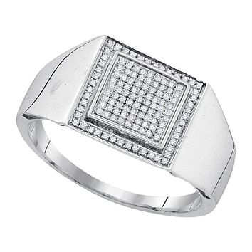Sterling Silver Men's Round Diamond Square Frame Cluster Ring 1/4 Cttw