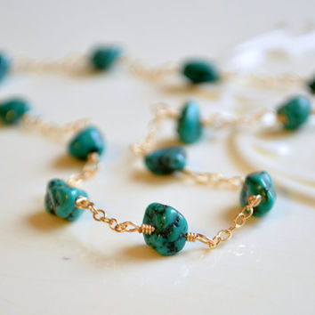 NEW Genuine Turquoise Anklet, Nugget Gemstone, Dark Aqua Blue, Gold or Sterling Silver, Adjustable, Wire Wrapped Jewelry, Free Shipping