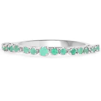 LoveHuang 0.33 Carats Genuine Emerald Stacking Ring Solid .925 Sterling Silver With Rhodium Plating