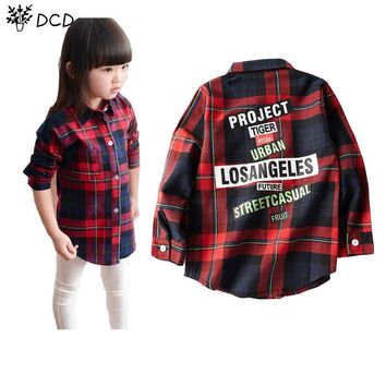 2017 New Girls Blouse Shirts Fashion Plaid Pattern Letter Print Single Breasted Blouse Little Girls Kids Clothes Spring Autumn