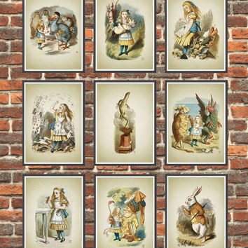 Alice in Wonderland Wall Art Poster Set of 9, Nursery Home Decor, Childrens Book Illustration Print Set, Girls Room Wall Art *6.1*