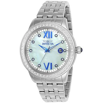 INVICTA Angel Womens 48 Crystal Watch - Stainless Steel - Mother of Pearl Dial