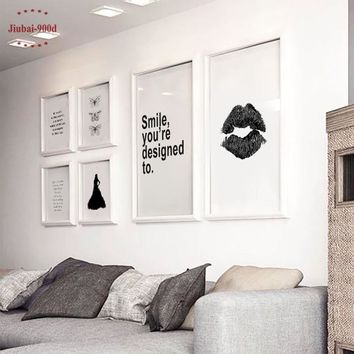 Nordic Canvas Art Print Poster,  Minimalism Lip Wall Pictures for Home Decoration, Wall Art Decor NOR004
