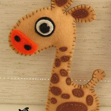 Stuffed Giraffe PATTERN, Sew by Hand Felt Softie, PDF, Plush Pattern Est-Eng, Easy
