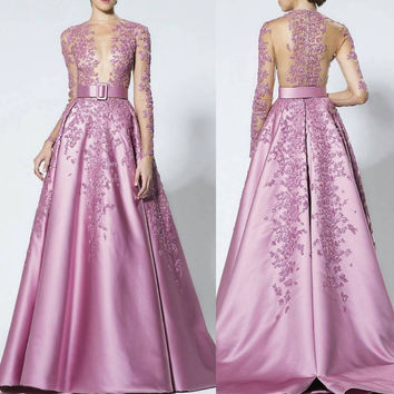 fashion pink evening dresses 2017 long sleeves appliques lace beaded a line  women pageant dress formal prom party gown