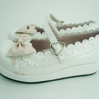 White Bowknot Lacework Scalloped PU Lolita Shoes