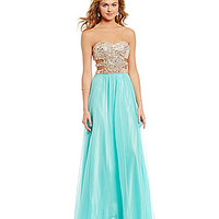 Morgan & Co. AB-Stone Sequin Cut-Out-Sides Gown | Dillards.com