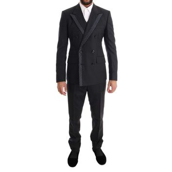 Dolce & Gabbana Gray Double Breasted 3 Piece Suit