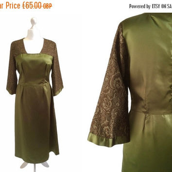 Sale 20% Off Gorgeous Green Satin Dress - Large - 1950s 1960s - Vintage Dress - Button Detail Back - Olive Green Dress With Bronze Lurex Pag