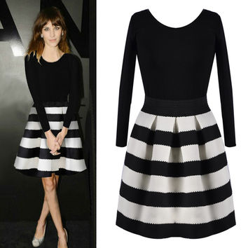 Black and White Long Sleeve Striped Pleated Mini Dress