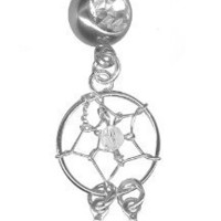 Petite Sterling Silver Dream Catcher Belly Ring-6 lengths available-14g (1/2)