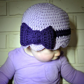 Crochet Bow Hat, Baby Girls Crochet Hat, Purple Beanie, Newborn Girl Hospital Hat, Toddler Girls Bow Hat, Girls Crochet, Infant Photo Prop