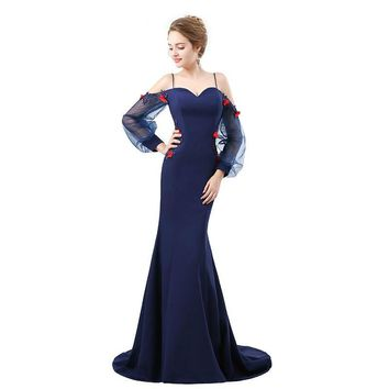 Long Sleeve Mermaid Dress robe Stretch Satin Evening Dress 3D Appliques