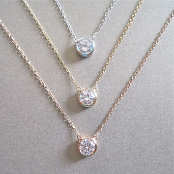 Solitaire Diamond Necklace - Diamond Necklace - Floating Diamond