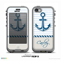 The Blue Highlighted Anchor with Rope Name Script Skin for the iPhone 5c nüüd LifeProof Case
