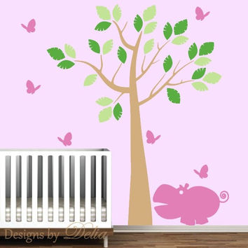 Nursery Tree Wall Decal with Hippo and Butterflies for Girl Nursery