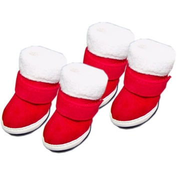 Pet Sneakers Dog Shoes Christmas Thermal Boots Cotton Padded - Size 5