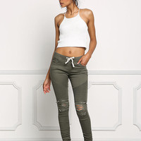 Olive Embossed & Distressed Zipper Trim Skinny Jeans
