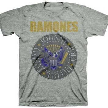 THE RAMONES - YELLOW AND BLUE SEAL MENS TEE