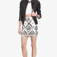 Ivory And Silver Aztec Sequin Mini Skirt from EXPRESS
