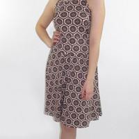 Brown and Beige Flared Skirt
