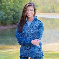 Heathered Quarter Zip Sherpa Pullover in Navy by The Southern Shirt Co.