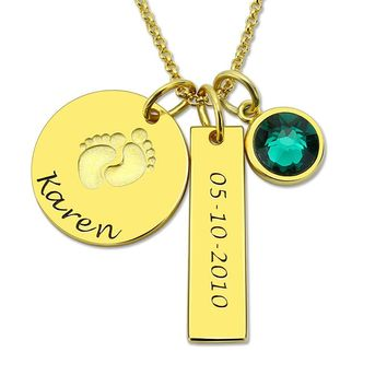 Baby Feet & Birthstone Necklace, Gold Color 925 Sterling Silver, Personalized Name and Date Necklace, New Baby Jewelry