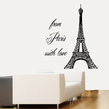 Wall Decals Words From Paris With Love France Eiffel Tower Home Vinyl Decal Sticker Kids Nursery Baby Room Decor kk221