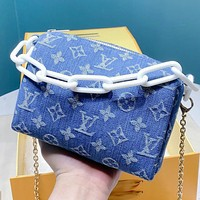 LV New fashion monogram canvas crossbody bag handbag shoulder bag women Blue