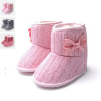 Toddler Knited Winter Faux Fleece Crib Snow Boots Kid Baby Shoes Bowknot Woolen Yam Fur Knit Shoes Firsst Walkers Free shipping